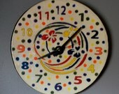 Colorful Polka Dot Ceramic Clock with Swirls and Flowers