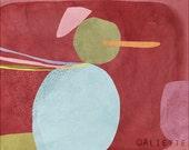 Pastelle 10 - Children - Art - Print -  Illustration - Abstract -Nursery wall art - Baby room decor - Snow Man - Red blue Orange Khaki Pink