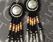 Native American Inspired Turquoise and Silver Seed Bead Feather Earrings