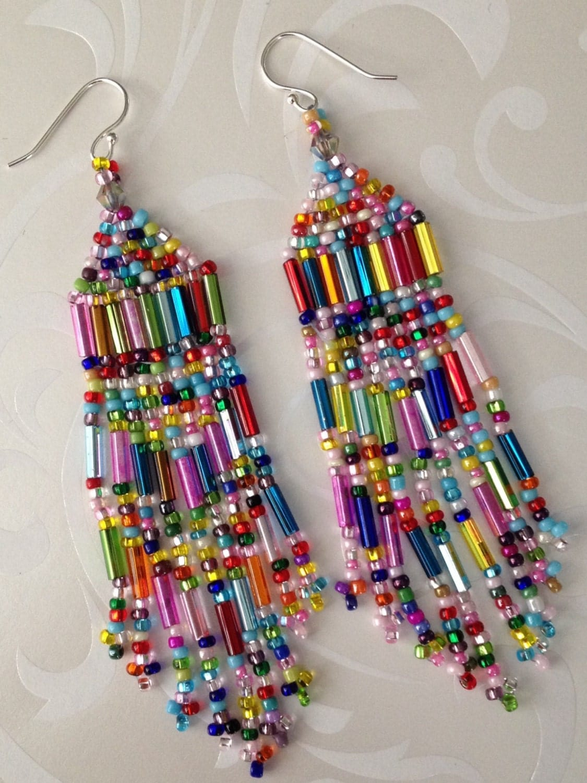super long beaded confetti fringe seed bead earrings