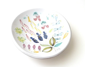 SUMMER SALE Stig Lindberg Faience Floral Bowl  Scandinavian Swedish Modern