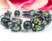 Jewels - Black Rainbow Ivory - Handcrafted Lampwork Glass Bead Set 7 by Clare Scott SRA Metallic
