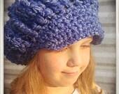 Denim Newsboy Hat Blue Chambray Crochet Beanie Brim Hippie Vegan Gift Handmade Pressie Boys Hat Tomboy Style