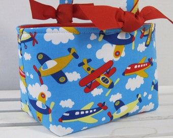 Easter Fabric Egg Hunt Candy Basket Storage Container - Fly Around - Airplanes on Blue