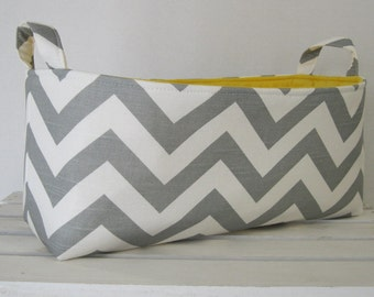 Long Diaper Caddy - Storage Container Basket Fabric Organizer Bin - Chevron Fabric - Choose the Fabric for the Outside and Inside