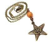 Plus Size, Little Twinkle Star in Orbiter Orange, Necklace and Earring Set, Plus Size Jewelry