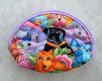 Small Quilted Purse - Laurel Burch DOG canine