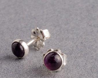 Amethyst Silver Dot Stud Earrings