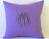 Monogram Pillow Cover. 18 x 18. Wedding Gift. Baby Shower Gift. Engagement Party. Dorm Decor. Modern Home Decor. Personalized. Monogrammed.