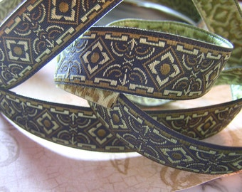 "Green Olive Black Medieval S C A Jacquard Ribbon Sewing Trim 1/3/6 Y x 5/8"""