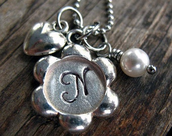 Personalized Initial Necklace - Hand Stamped, Initial Jewelry, Pewter Flower, Monogram, Silver Heart, Swarovski Birthstone , Mom Necklace