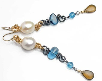 On Sale - Long Earrings Dangle Earrings Pearl and Blue Topaz Mixed Metals Earrings