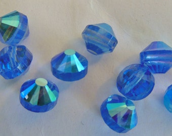 Vintage Swarovski  (10) beads Austrian crystal Sapphire AB 8mm art 5101 aurora borealis crystal faceted beads aspirin shape (10)