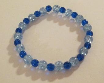 Cobalt Blue and Crackle Glass Beaded Bracelet