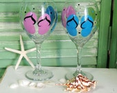 Set of 2 Large Hand Painted Flip Flop Wine Glasses Seaside Beach Party Decor, Wedding Gift