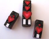 Valentine Heart Polymer Clay Pendant and Earring Components