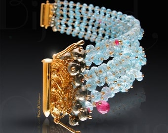 Custom Made to Order - Multi-Strand Aquamarine Bracelet with Pyrite, Pink Sapphire, and London Blue Topaz Accents