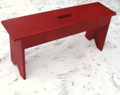 Rustic Red Bench, Entryway Bench, Mudroom Bench, Garden Bench, Wood Bench, Cottage Farmhouse Beach Bench