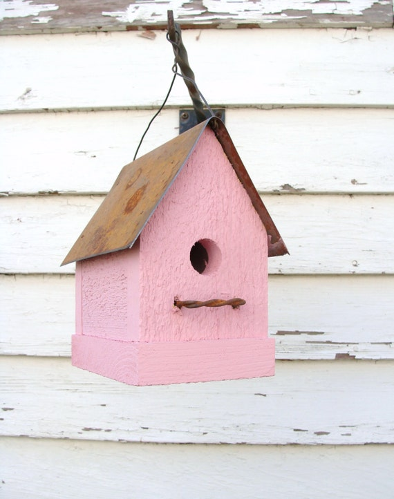 Rustic Pink Birdhouse Home and Garden Decor Simple & Sweet Bird House Shabby Cottage Chic