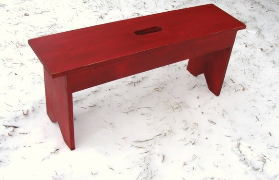 Rustic Red Bench Entryway Bench Mudroom Bench by baconsquarefarm