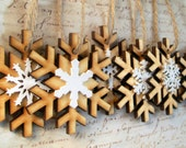 Christmas winter wedding favours rustic wood snowflake ornaments decorations set of 100