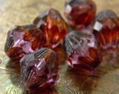 Rustic Tanzanite (6) -Czech Glass Baroque Bicones 13x11mm