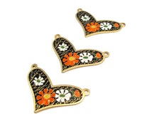 Vintage Orange and White Flowers on Black Cloisonne Enamel Heart Pendants (2X) (E572)