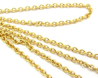 Gold Plated on Brass Cable Chain (3 feet) (C804)