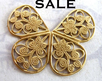 LOW Stock - Brass Filigree Butterfly Charms (4X) (V457) SALE - 25% off