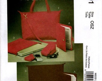 Uncut  McCall's 6091 TOTE LAPTOP NOTEBOOK Case Pattern Electronic Device Carrying Cases E-book Cover Computer Case Sewing