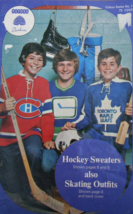 Knitting Pattern Hockey Sweaters Canucks Canadiens Maple Leafs