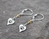 Citrine Heart Paw Print Sterling Silver Lever Back Earrings