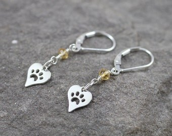 Citrine Heart Paw Print Sterling Silver Lever Back Earrings