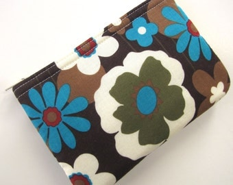 Retro Floral Coin Pouch With Zipper