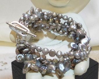 Pewter 4 Strand Keishe and Freshwater Bracelet