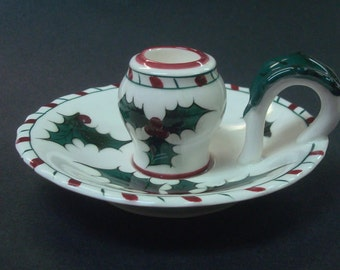 Lefton Holly and Candy Cane Candle Stick Candlestick Candle Holder 1950's Vintage