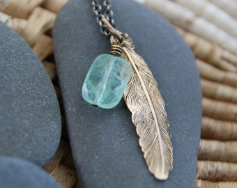 fluorite feather love . a so i fly necklace