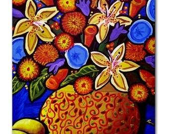 Golden Flowers Floral  Whimsical Folk Art Ceramic Tile