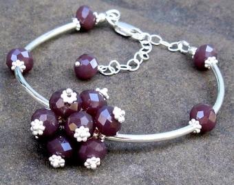 Sterling Silver Opaque Plum Flex Bangle, Adjustable Purple Cluster Bracelet - Plum Pudding Gift for Her