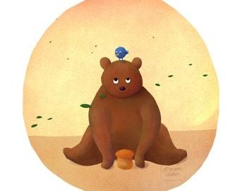 Bear and friend - art print