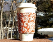 Holiday Sale! Fabric coffee cozy / cup holder / coffee sleeve - Vintage ivory floral on orange