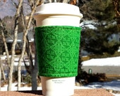 FREE SHIPPING UPGRADE with minimum -  Fabric coffee cozy / cup holder / coffee sleeve / can koosie / mason jar cozy - Luck of the Irish