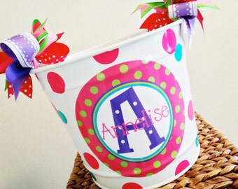 custom 10 QUART bucket with stacked name in pink, purple and teal