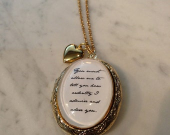 Jane Austen Pride and Prejudice You Must Allow Me Necklace
