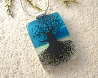 Rooted Tree, Oak Tree, Tree of Life. Tree, Silver Necklace, Dichroic Pendant, Dichroic Jewelry, Fused Glass Jewelry, Baobab Tree, 043016p101