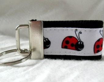 HALF OFF - Ladybugs Mini Key Fob -  Bugs Keychain - Small Key Fob  - Ladybugs on BLACK - Zipper Pull