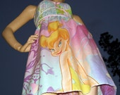 Tinker Bell Dress OOAK Upcycled Pink Purple Fairy Sundress Adult Party  M L XL 2X