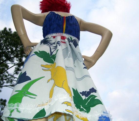 Dinosaur Dress OAK Upcycled Adult Geek T Rex Sundress Mom Party Dress M L XL Plus Size