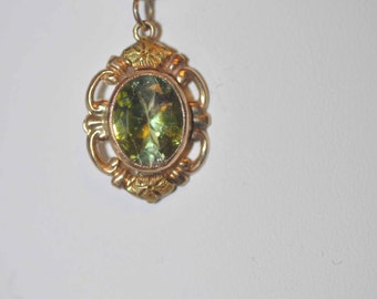 BiColor Green Tourmaline Vintage 12K Necklace