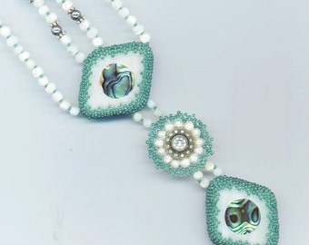 Geometrical Beaded Turquoise Necklace . Swarovski Crystal Sterling Flower . Inlaid Mother of Pearl - Art Geometry by enchantedbeads on Etsy